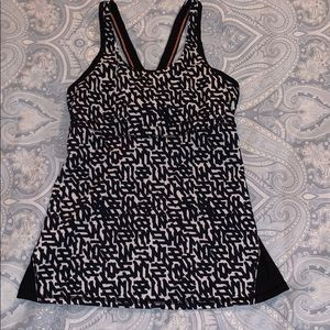 Lulemon black and white tank with sheer